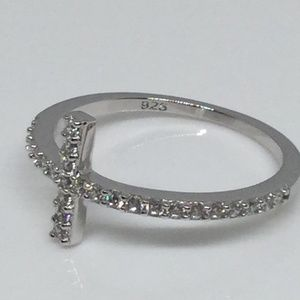 Jewelry - Sterling Silver Cross Clear CZ Ring